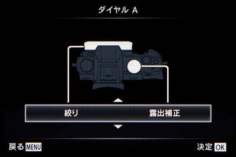 コントロールリングとサブダイヤルの機能設定画面。P/A/S/Mそれぞれのデフォルト状態