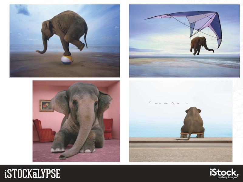 """例)ゾウ:英語で「部屋にいるゾウ」=""""elephant in the room""""というフレーズ(見てみぬふり、居心地の悪いタブーの意)があり、そんな比喩に使われる絵柄もある"""