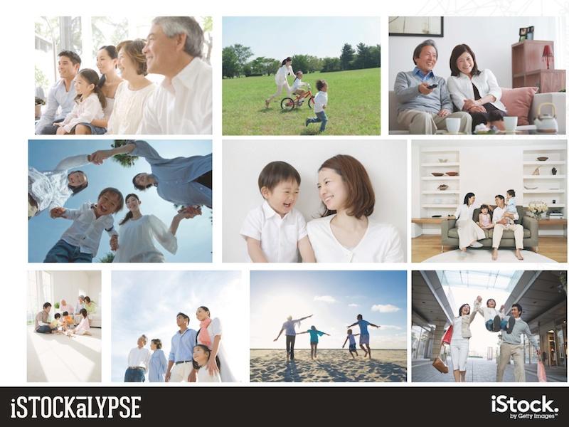 例)子どもと親:子どもと両親またはどちらかの親と。また、アジアでは子ども、親、祖父母の三世代が一緒にいる絵柄も人気がある。伝統を大切にしているブランドイメージを想像させるようだ