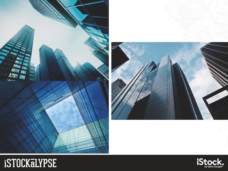 例)都市の光景:ビジネス、リフレクション(反射、反映)を連想させる絵柄