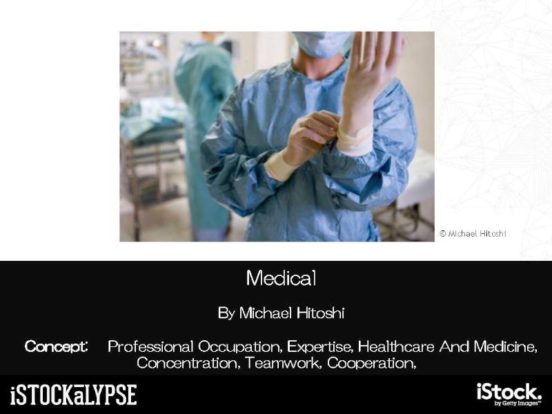 同一の作者による「メディカル(医療)」「テクノロジー」の例。撮影のためにモデルを使い、医師に指導してもらって撮影したという