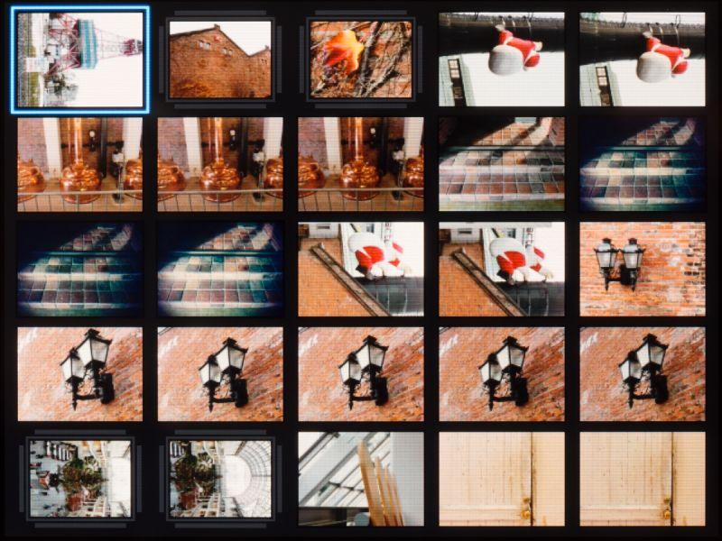 縮小してのインデックス表示は「4画像」「25画像」「100画像」の3種類。