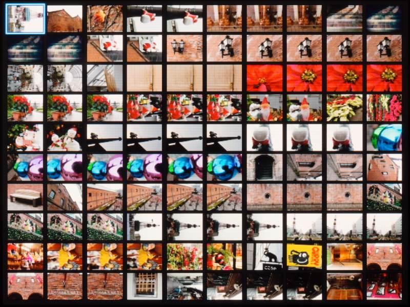 こちらは「100画像」の画面。解像度は92万ドットだから普通だが、モニターサイズが大きいので見ごたえがある。