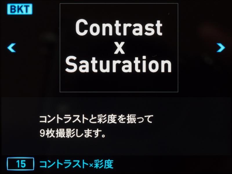 これはマニュアルの「コントラスト×彩度」の画面。