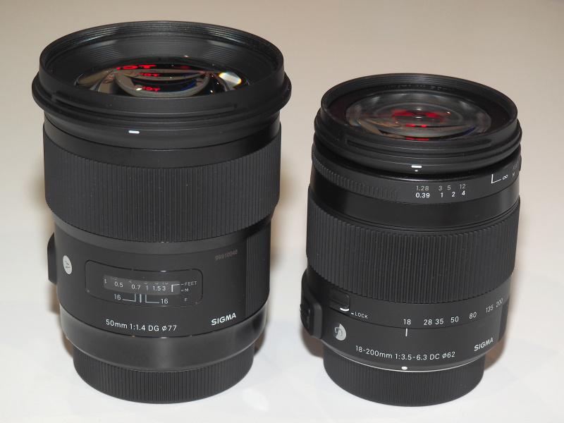 左からSIGMA 50mm F1.4 DG HSM、SIGMA 18-200mm F3.5-6.3 DC MACRO OS HSM