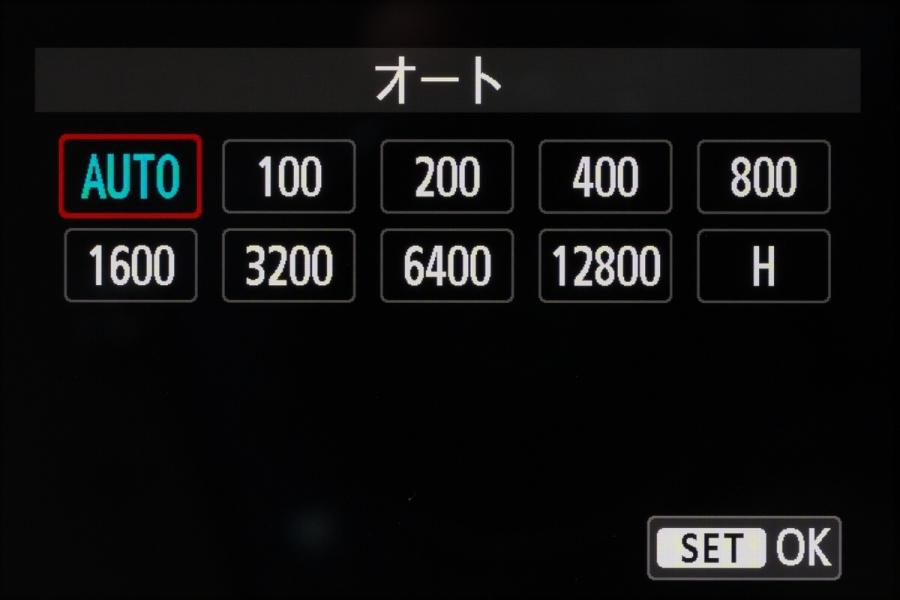 ISO感度の設定範囲は、ISO100からISO12,800と感度拡張時に選択できる「H(ISO25,600相当)」。これは先代と同じスペックだ。