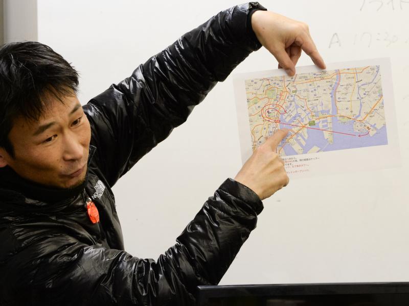 東京タワーをじっくり狙えるルートを設定