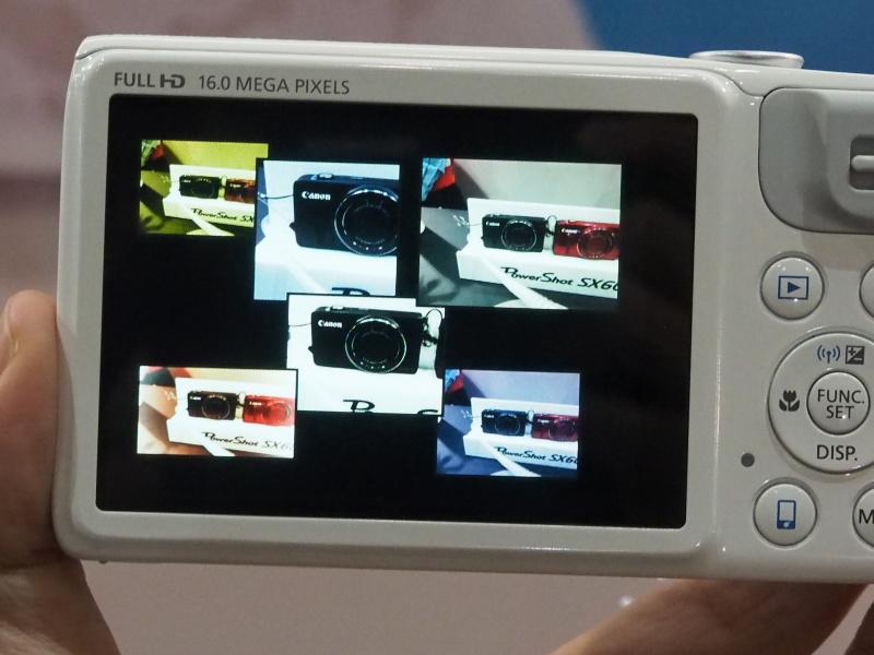 ワンシャッターで6通りの画像を記録する「クリエイティブショット」の搭載機が増えている。PowerShot Nで初搭載の機能。機種によっては仕上がりのテイストも選べるようになっている