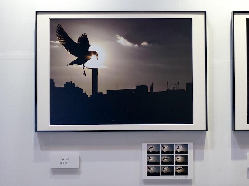 菊池賢二さんの作品「ぬし」。作品の右下にはブラケティングの全コマが