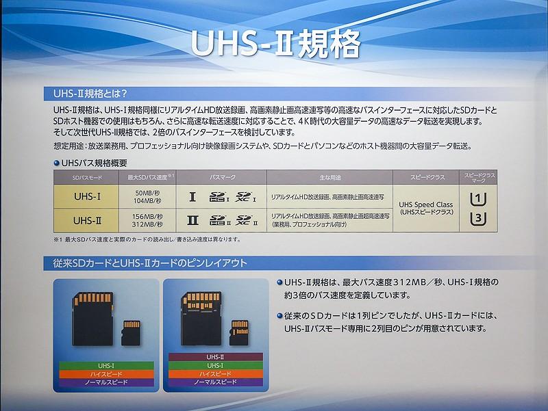UHS-II規格では、最大312MB/sのバス速度まで対応できる。カード裏面のピンに下段が追加されている(写真はCP+2014のSD Associationブースのもの)