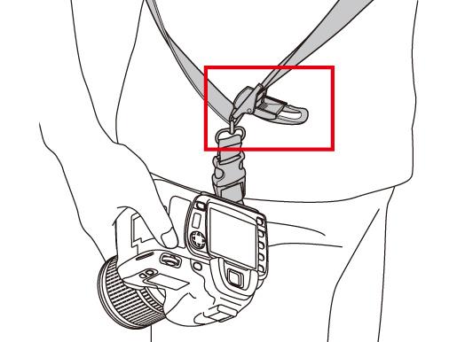 ストラップ紐の好きな位置でカメラを固定できるクイックストップ