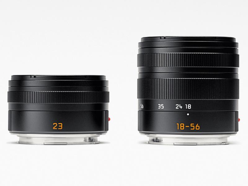 左からライカ ズミクロンT f2/23mm ASPH.、ライカ バリオ・エルマーT f3.5-5.6/18-56mm ASPH.
