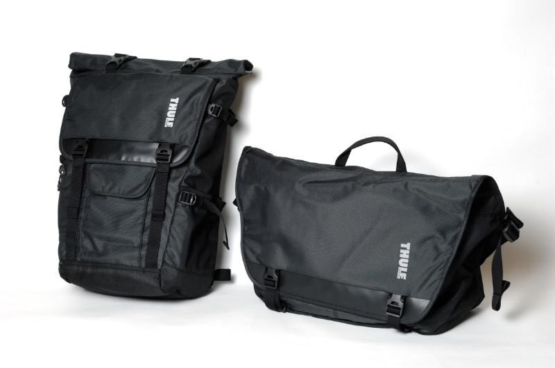 THULEの最新シリーズ、Covert。計4製品をラインナップする。左からCovert DSLR Backpack、Covert DSLR Messenger