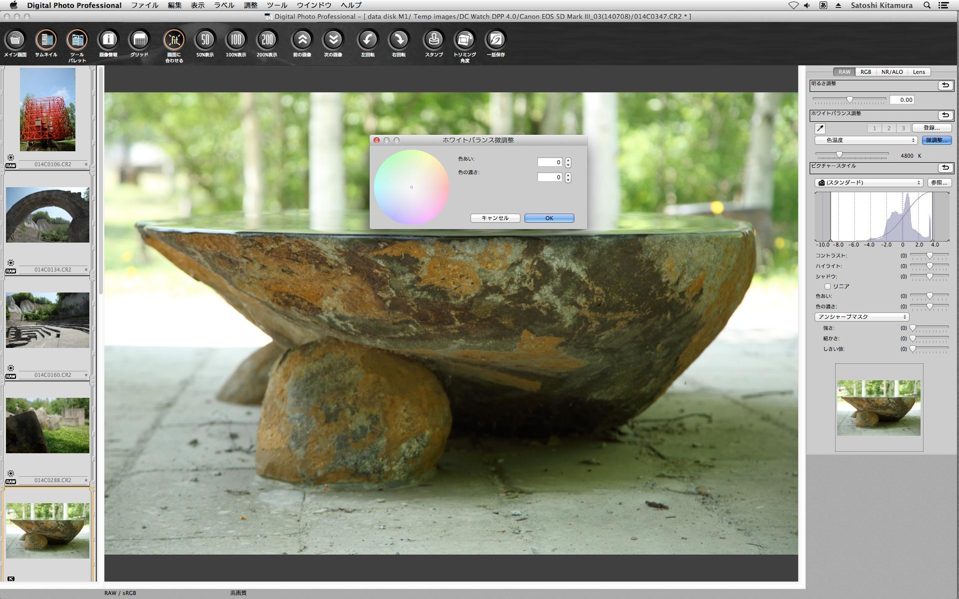 DPP 3の「ホワイトバランス微調整」の画面。調整パラメーターが「色あい(色相)」と「色の濃さ(彩度)」なのがややこしいところだった。
