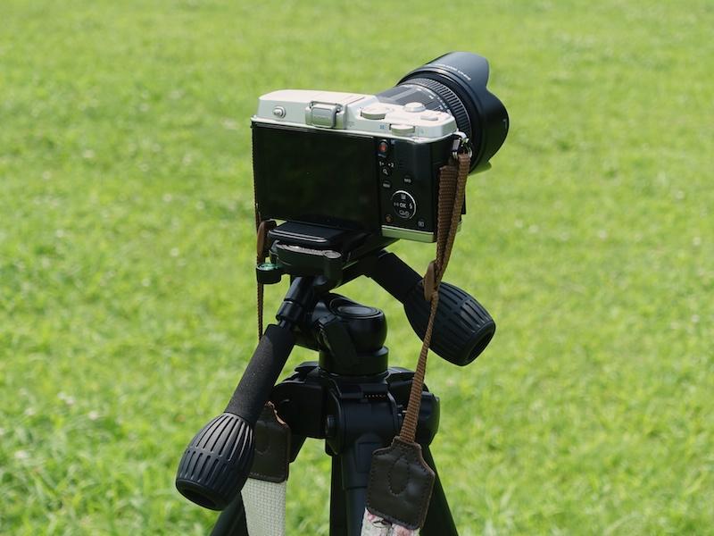 三脚にカメラをしっかり取り付けます。