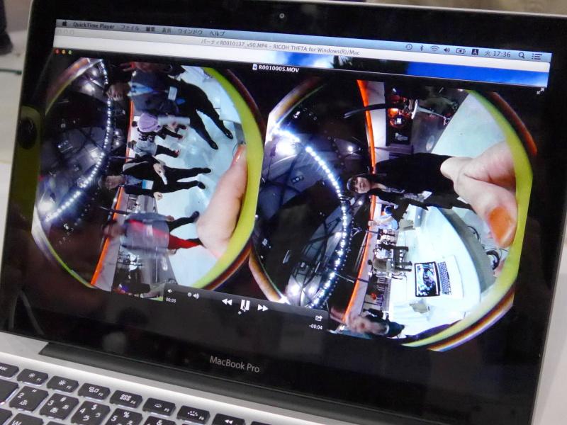 THETAで撮影したままの状態のMOV動画。これをソフトで変換する。処理時間はデモ用のMacBook Proで実時間より短かった