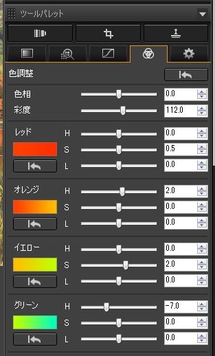 [色調整ツールパレット]を開き、[色調整]の[彩度]を[112.0]と全体を少し鮮やかに調整。紅葉に影響する[レッド]の[S]を[0.5]、[オレンジ]の[H]を[2.0]、[イエロー]の[S]を[2.0]、[グリーン]の[H]を[-7.0]に設定して印象的な色合いに調整した