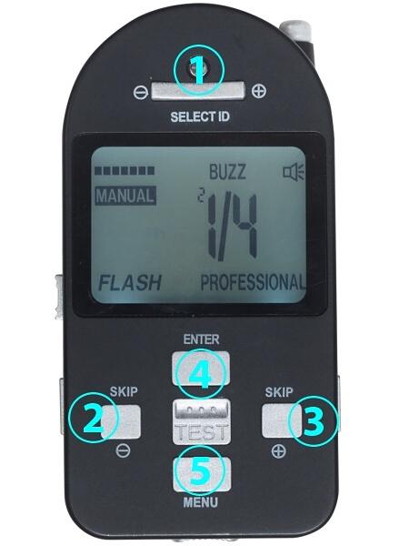 """無線コントローラー。カメラのホットシューに装着して使う。<br class=""""""""><br class="""""""">1)ID切り替え:複数のe-Light BP4.0LHを使用するときに使う。<br class="""""""">2)光量減:押すごとに-1/3段ずつ光量が少なくなる。<br class="""""""">3)光量増:押すごとに+1/3段ずつ光量が増える。<br class="""""""">4)ENTER:光量を変更した場合、モードを変更した場合にENTERキーを押すことで、変更が確定する。<br class="""""""">5)FPモードへの切り替え"""