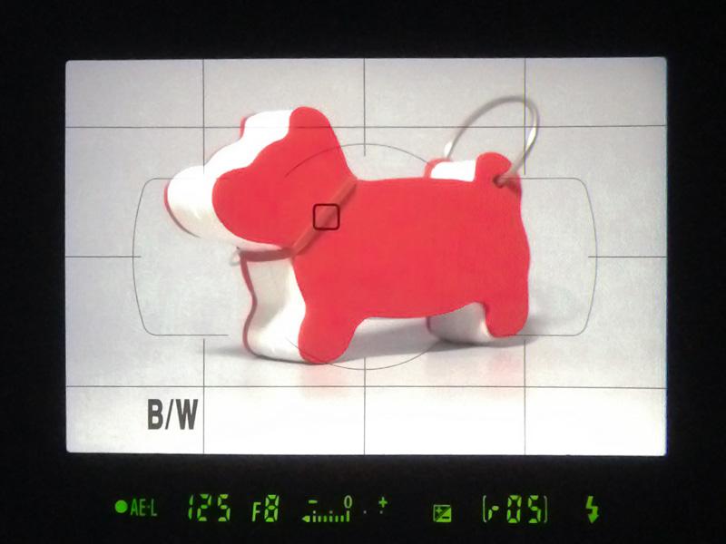 光学ファインダー内の表示。ファインダースクリーンに透過式の液晶を重ねることで、AF測距点や格子線のほか、白黒モードやバッテリー残量の警告などが表示可能になっている