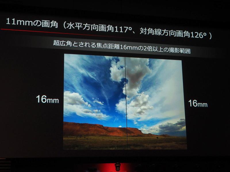 11mmの撮影範囲は16mmの2倍相当という