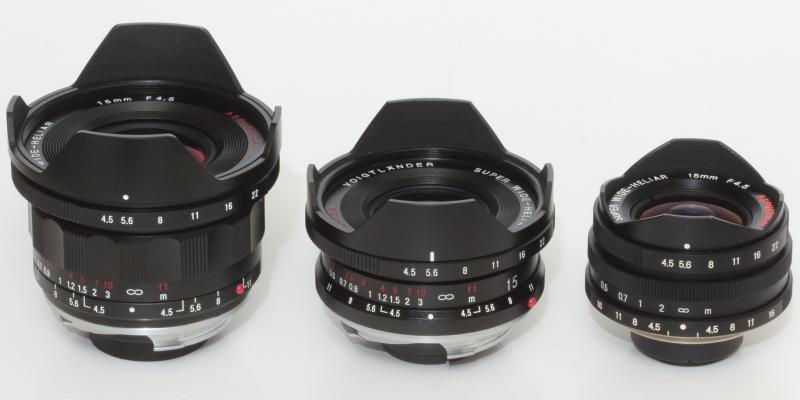 歴代スーパーのスーパーワイドヘリアー15mm F4.5。右から初代、II型、III型となる。III型はやや大きめだが、ライカMマウント互換のスペックからみれば小型のレンズの部類に属する。