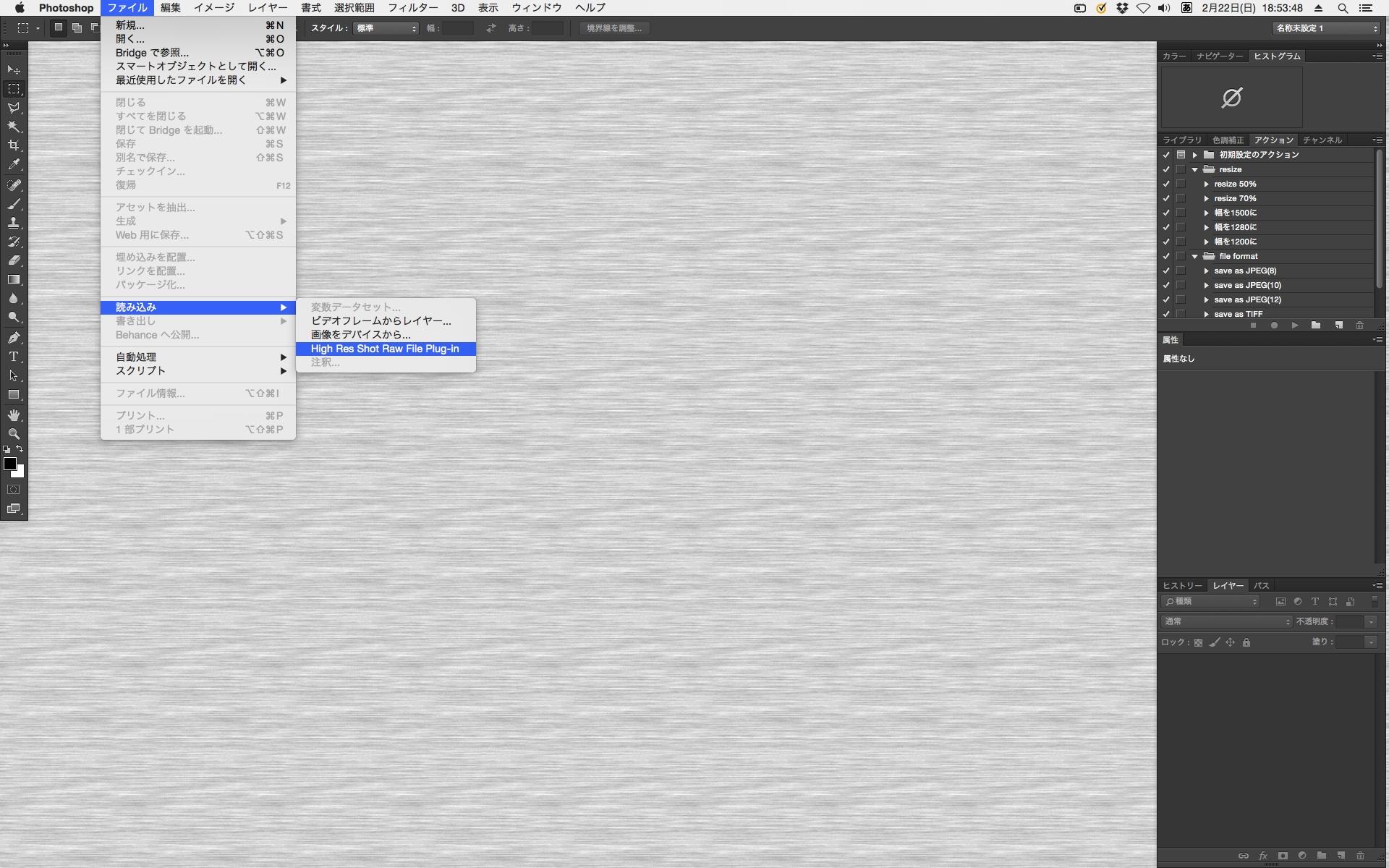 64M RAWを現像するには、Photoshopを使う。「ファイル」メニューから「読み込み」→「High Res Shot Raw File Plug-in」を選択する。