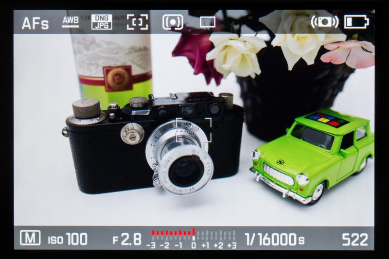 撮影モードはマニュアル、サムホイールで1/16,000秒に設定したところ