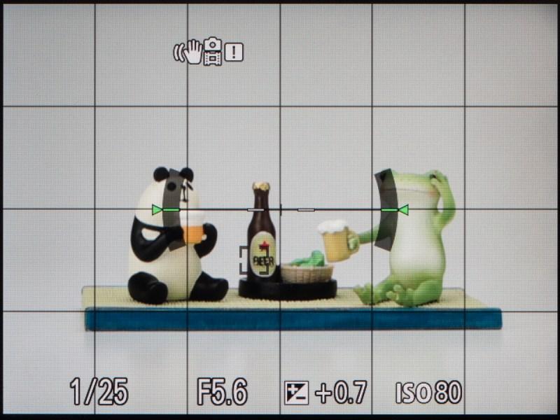 撮影時の画面。パナソニックもそうだが、画面中央に水準器が表示されるのは絶妙に邪魔である。