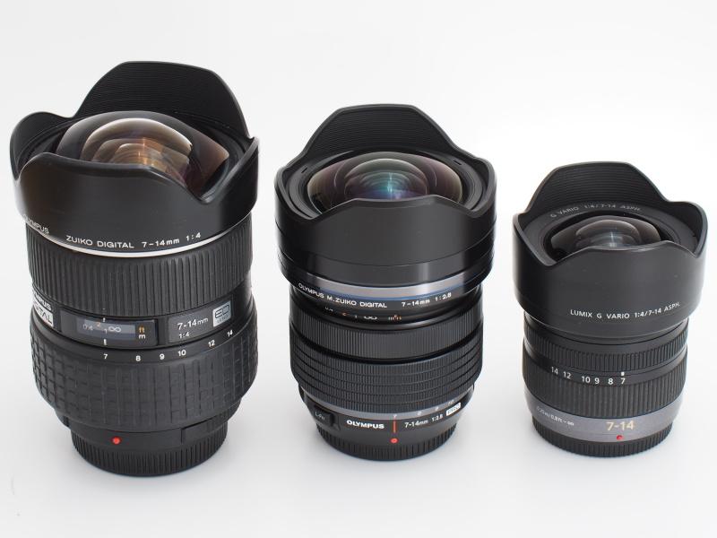 左からZUIKO DIGITAL 7-14mm F4、M.ZUIKO DIGITAL 7-14mm F2.8 PRO、LUMIX G VARIO 7-14mm F4 ASPH.。バックフォーカスの短さが広角レンズの小型化に不可欠