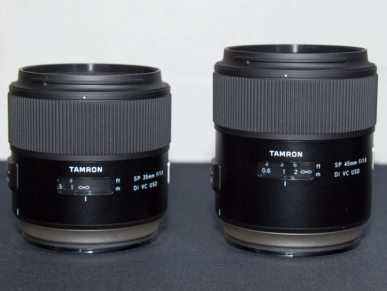 SP 35mm F/1.8 Di VC USD(Model F012、左)とSP 45mm F/1.8 Di VC USD(Model F013、右)