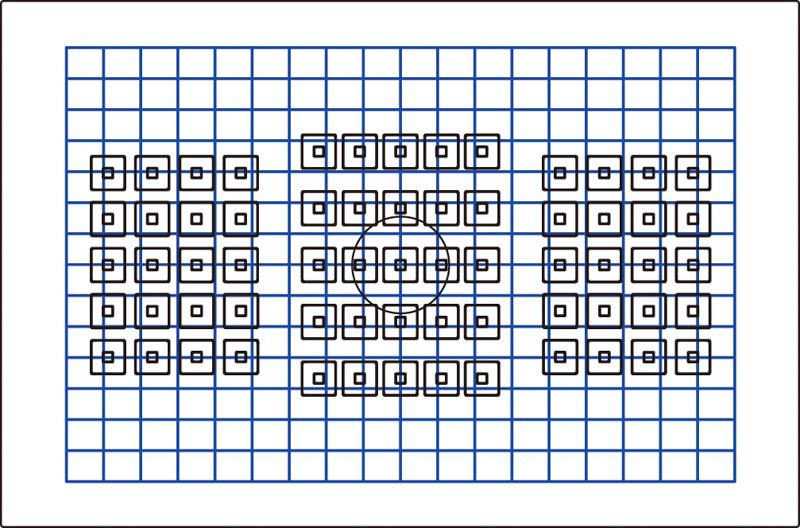 視野の端までをカバーするEOS 7D Mark IIの測距点配置。青枠は測光の範囲を表す。