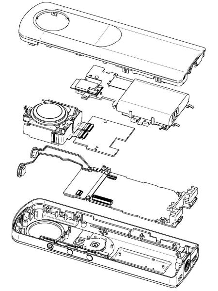 """<strong class="""""""">RICOH THETA Sの分解イメージ図</strong><br class="""""""">レンズユニットと電子基板、バッテリーを前後の外装カバーで挟み込んだシンプルな構成。レンズ光学系とセンサーはフレームにしっかり固定することで、ユニット単位で精度と強度を保っている"""