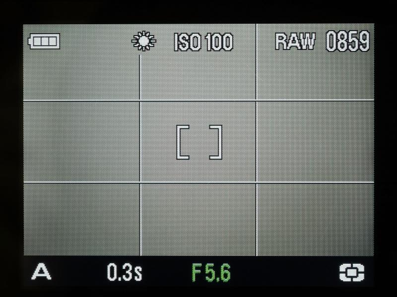 DP1の液晶モニター表示(撮影時)。この2パターンの他、液晶モニターOFFもある