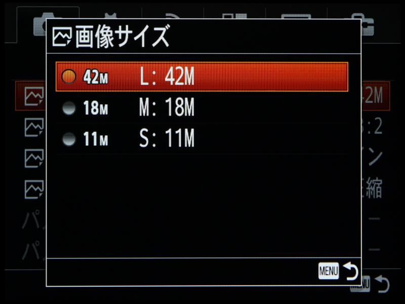 フル画素で4,200万画素もあるため、Mサイズでも1,800万画素と十分な大きさ。画像送信などのハンドリングを考えると、通常はMサイズで撮影してもよいのかもしれない。