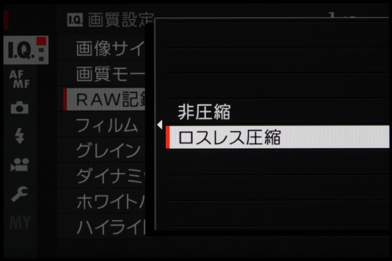 RAWフォーマットは非圧縮とロスレス圧縮から選択が可能。いずれも14bit。