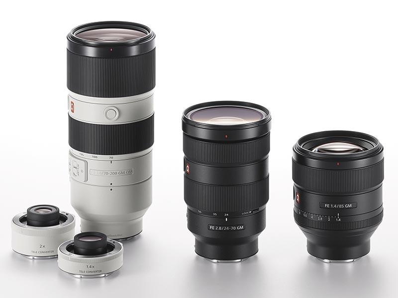 Gマスターシリーズ。左からFE 70-200mm F2.8 GM OSS、FE 24-70mm F2.8 GM、FE 85mm F1.4 GM