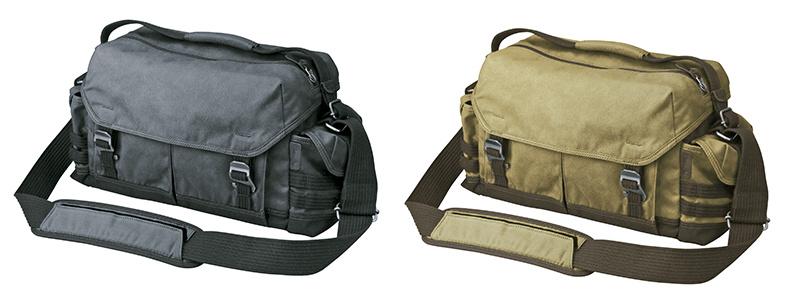 ルフトデザイン ビンテージレーベル ショルダーバッグ L(左からブラック、カーキ)