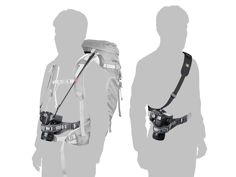 バックパックに装着する「くびの負担がZEROフック」と組み合わせることで登山での使用に最適化されるほか、速写ストラップと組み合わせて安定性が高められる