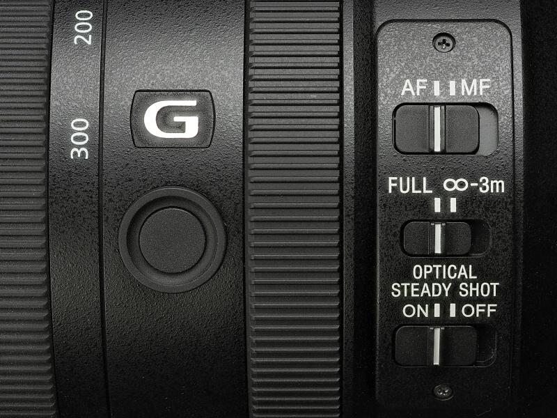 側面にはAF/MF切り換え、フォーカスリミットスイッチ、手ブレ補正のON/OFFと、レンズFnボタンが装備されている。手ブレ補正のMODE1/2切り換えスイッチはない