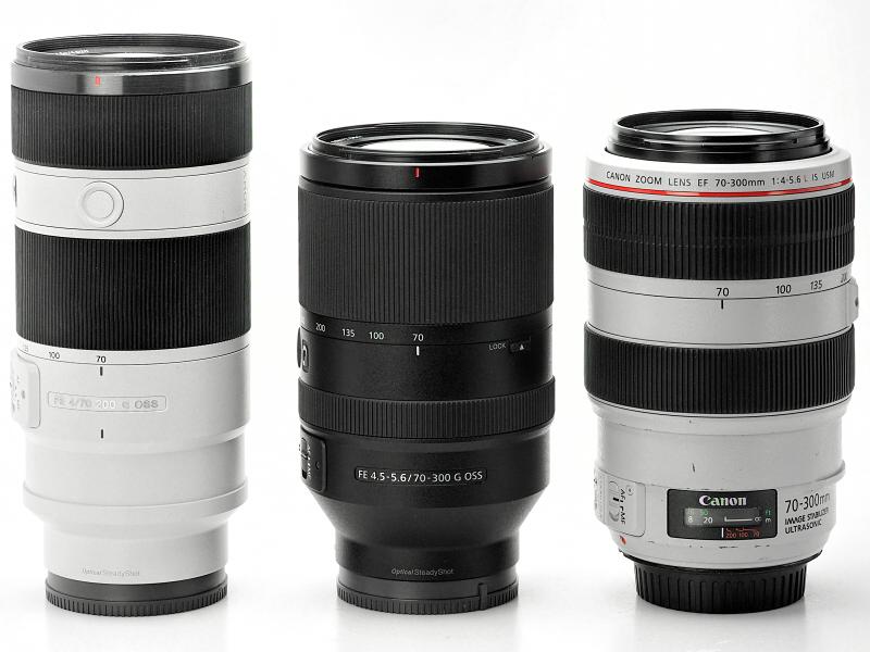 左からFE 70-200mm F4 G OSS、FE 70-300mm F4.5-5.6G OSS、キヤノンEF70-300mm F4-5.6L IS USM。フランジバックが短い分、レンズ長が長くなりやすいミラーレスカメラの望遠レンズとしてはコンパクトにまとまっている