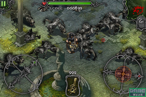 「Rush」モードでは狼男が大群で攻めてくる。武器もマシンガンのみで、撃ちまくるのみだ