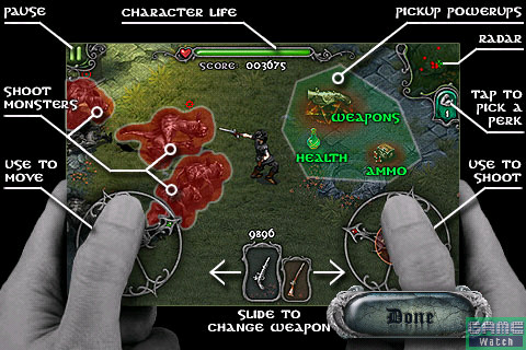 起動画面から1番下の「Instructions」ボタンをタッチすると、ゲームの操作ガイドが表示される