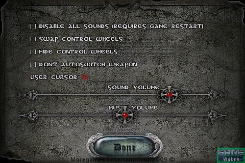 「Options」をタッチすると、ゲームのオプション設定に加えて、SEとBGMのボリュームが調整できる