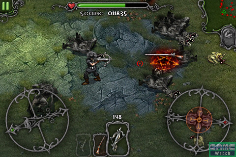 <b>クロスボウ</b> …… 射程上のモンスターをまとめて攻撃できるが、敵を後退させる効果はない