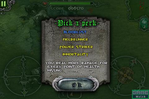 画面右側の「Perk」(特典)アイコンをタッチすると、4種類の特殊能力から1つをタッチして使用できる