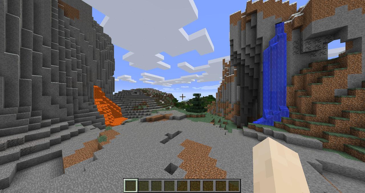 滝と溶岩流に挟まれた面白い地形を見つけたので、ここに家を建てる