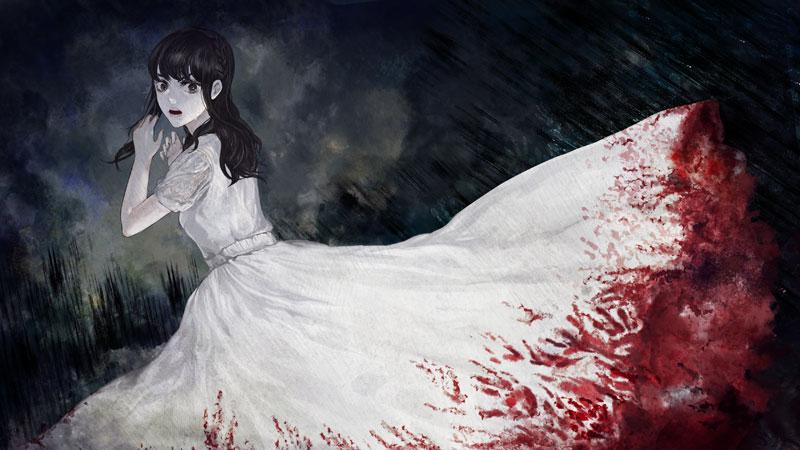松岡るみのスカートにびっしりと付着した赤い手形。まるで血液のように見えるが……