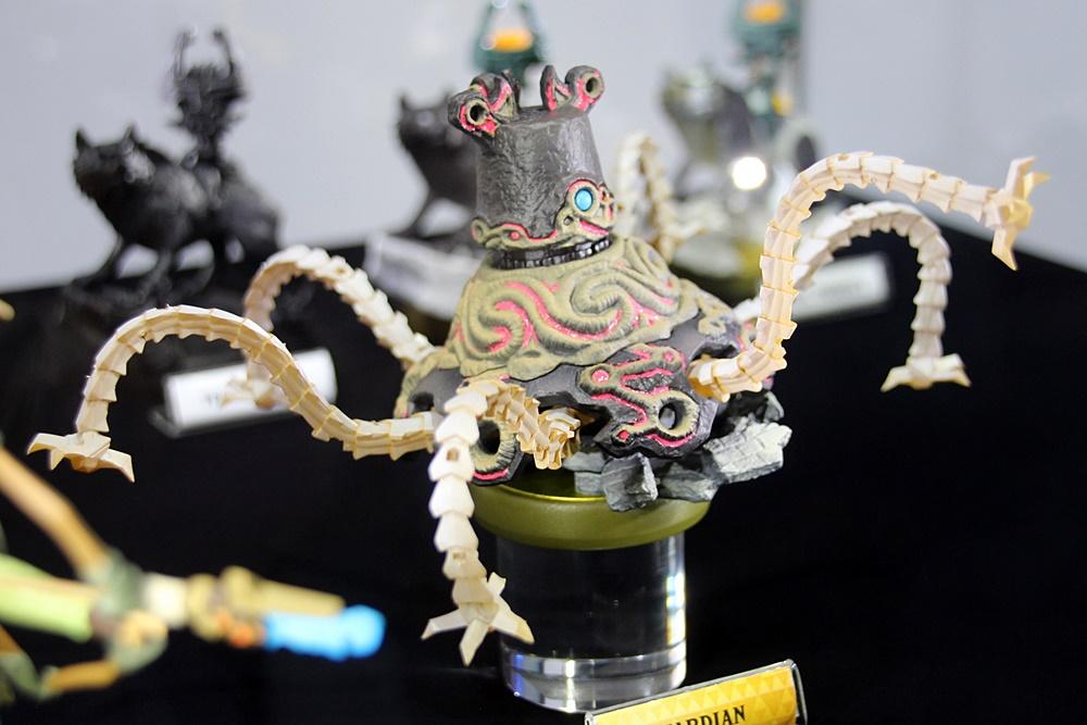 展示されていた「ゼルダの伝説 ブレス オブ ザ ワイルド」のamiibo。上段から「Link(Archer)」、「Link(Rider)」、そして「Guardian」