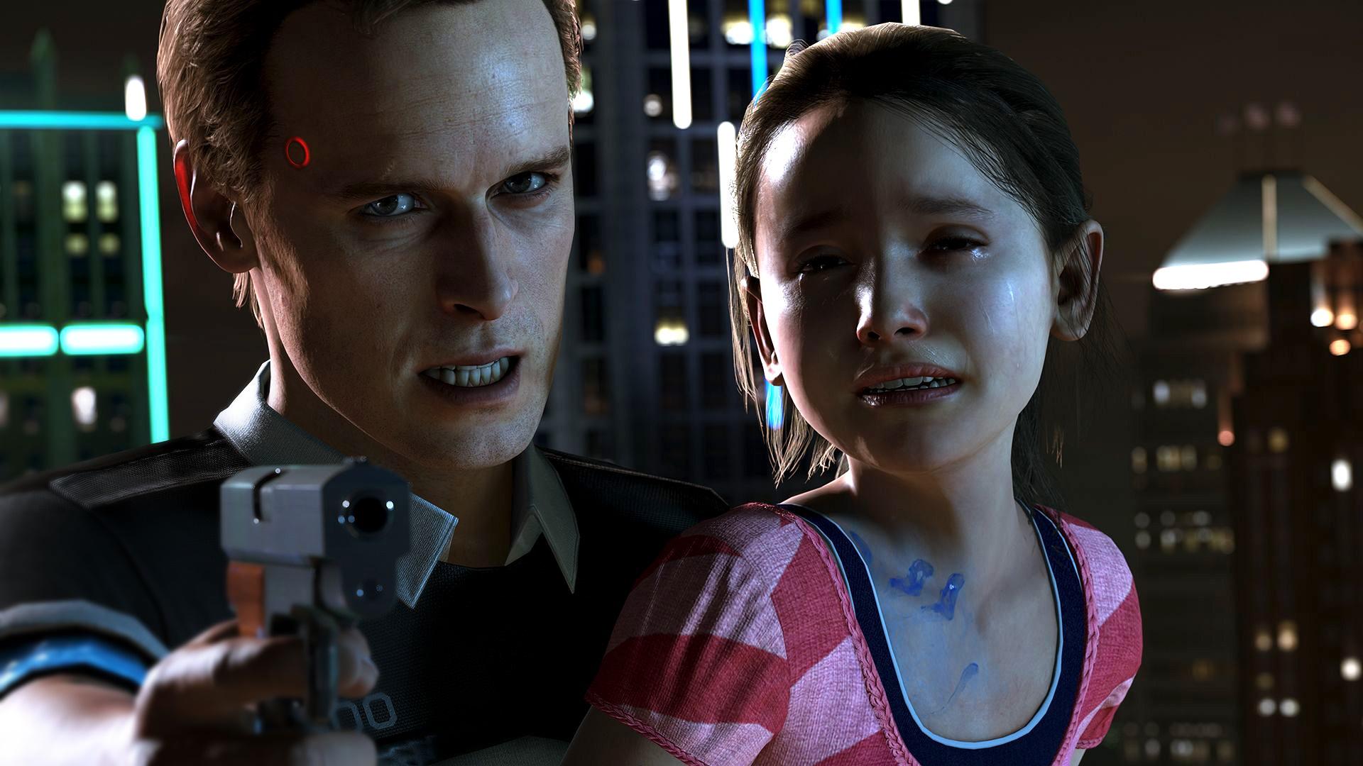 少女を人質に取るアンドロイド。彼の中で何かが暴走してしまったようだ