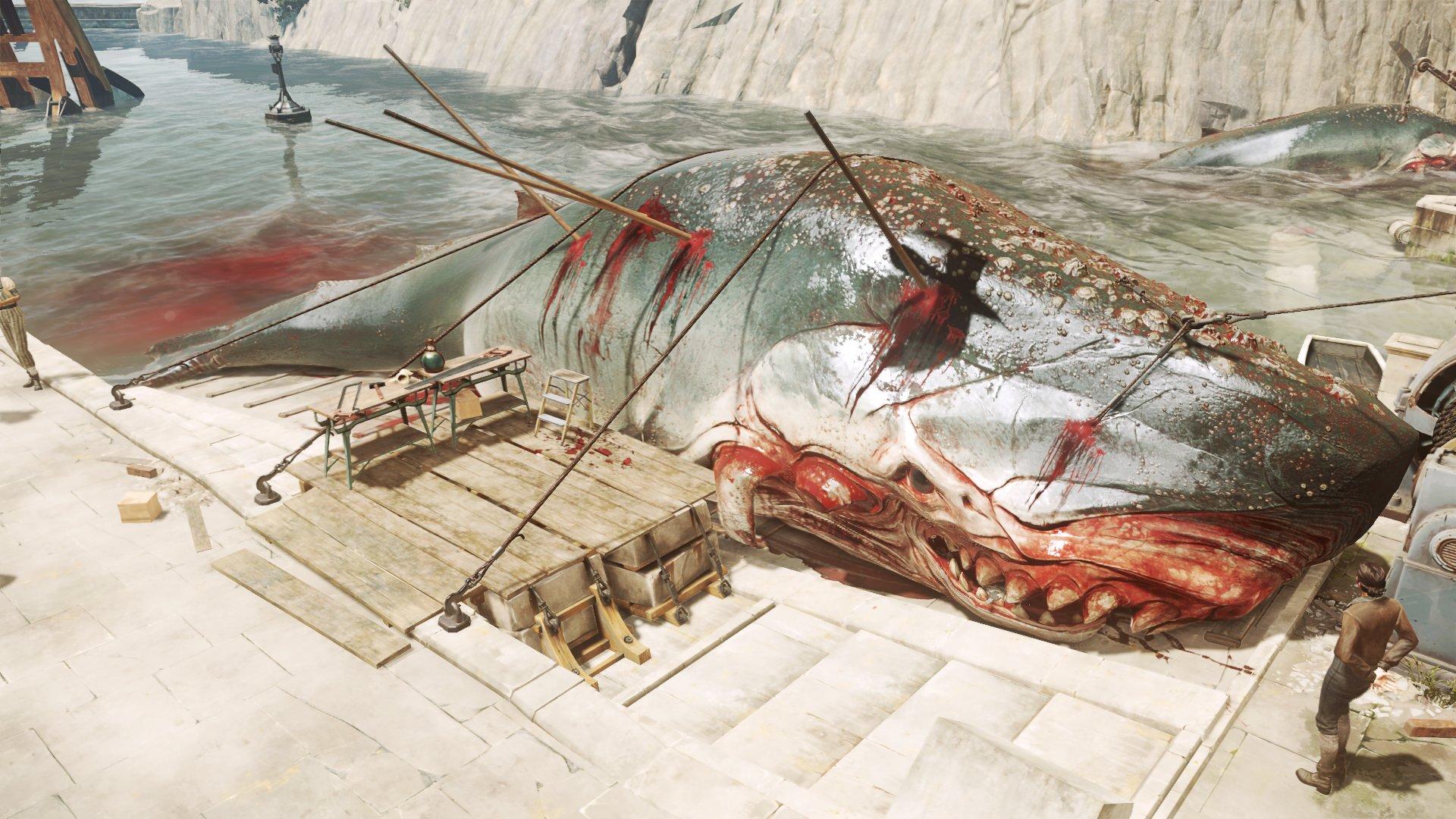 打ち上げられた鯨。「Dishonored」では重要な資源とされる鯨油が取れるため乱獲が進められている